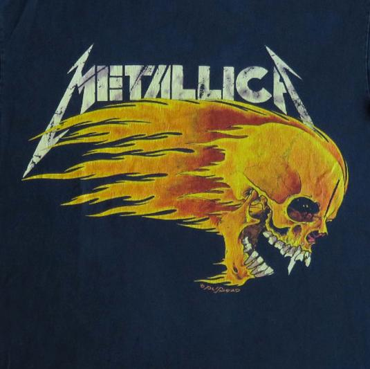 Metallica 90's Flaming Skull Vintage T Shirt Pushead Dates