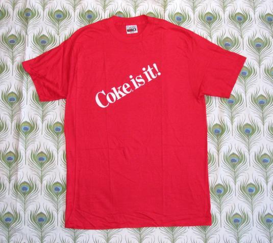 Coke Is It! 80's Coca Cola Vintage T Shirt Deadstock NOS L
