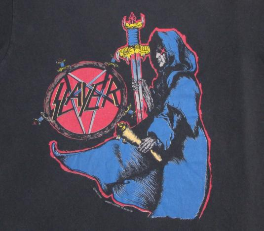 Slayer 1990 Spill The Blood Vintage T Shirt Song Lyrics 90's