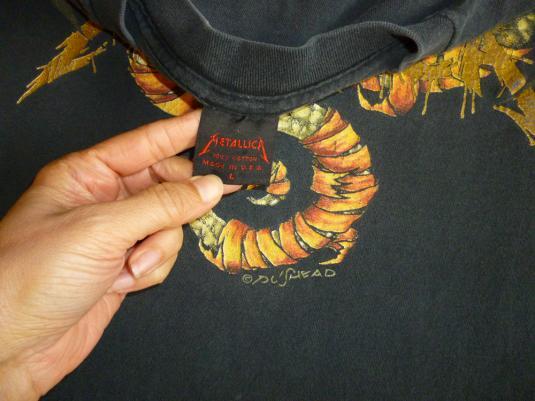 Metallica 1992 Black Tour Vintage T Shirt Pushead May Roam L