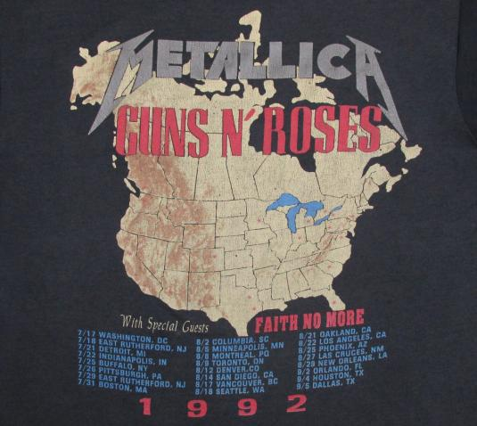 Guns N' Roses 1992 Metallica Vintage T Shirt Faith No More