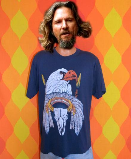 vintage american BALD EAGLE war native indian t-shirt 80s