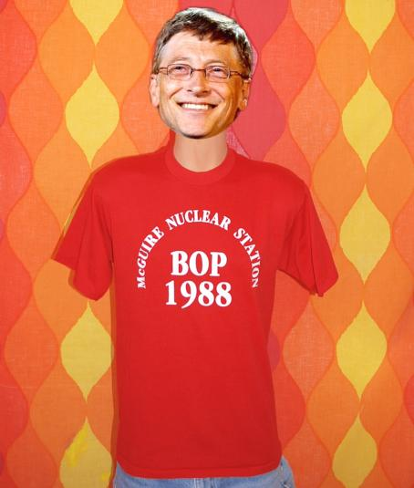 vintage mcguire NUCLEAR station bop party dance t-shirt red