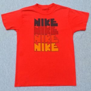 vintage 70s NIKE rough block letters t-shirt red authentic