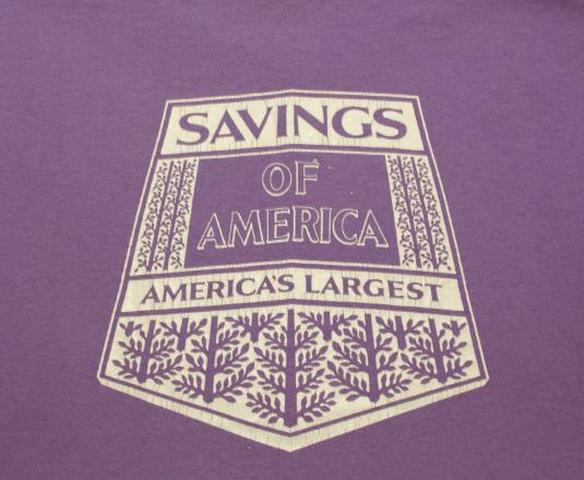vintage SAVINGS of america bank purple soft t-shirt 80s