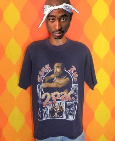 vintage THUG LIFE tupac 2pac rap hip hop t-shirt 90s black