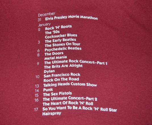 vintage ROCK on FILM wiltern los angeles t-shirt 80s concert
