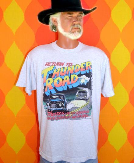 vintage THUNDER ROAD moonshine neon white lightning t-shirt