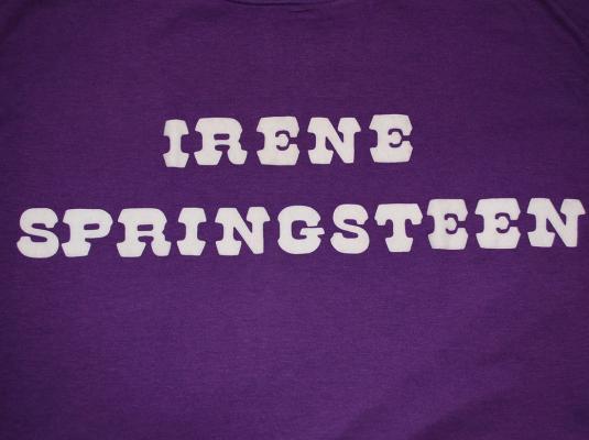 vintage IRENE SPRINGSTEEN flock purple t-shirt rock funny
