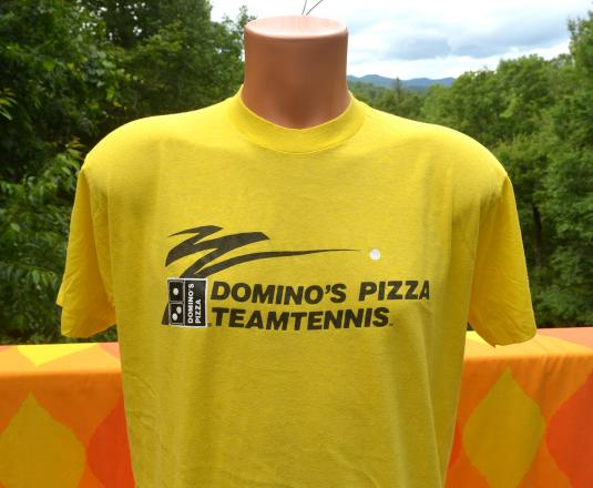 vintage DOMINO'S pizza team tennis t-shirt yellow 80s