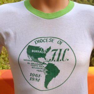 vintage ringer t-shirt BUFFALO south america catholic 1981