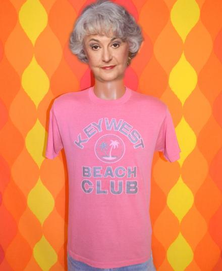 vintage 80s KEY WEST beach club florida pink t-shirt palm