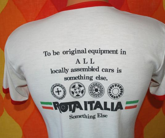 vintage rota ITALIA italy car auto ringer t-shirt engrish