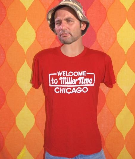vintage MILLER TIME chicago t-shirt beer illinois party 80s