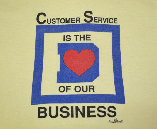 vintage CUSTOMER SERVICE heart of business t-shirt 80s love
