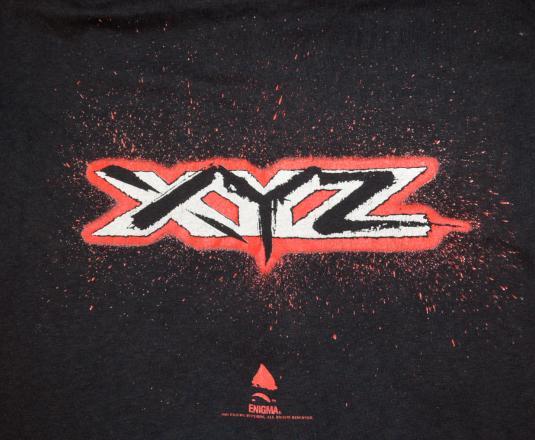 vintage XYZ hard rock metal black concert band tour t-shirt