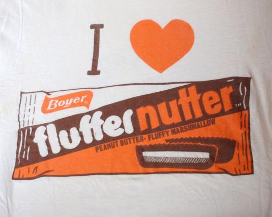 vintage i love FLUFFERNUTTER candy chocolate t-shirt 70s
