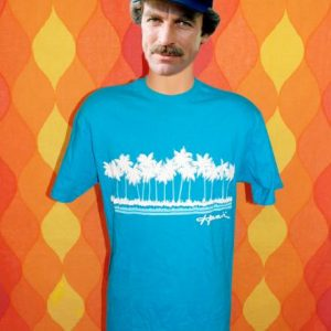 vintage HAWAII teal palm trees tourist souvenir tee shirt