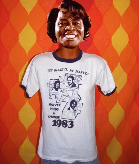 vintage believe in HARVEY illinois election ringer t-shirt