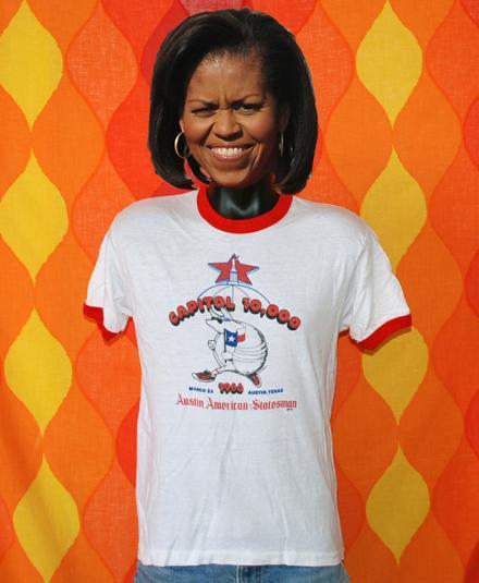 vintage AUSTIN texas race ringer armadillo t-shirt 1986