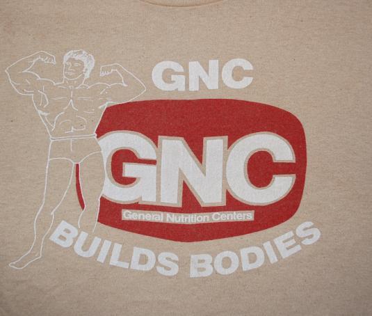 vintage GNC body building fitness exercise t-shirt 70s soft