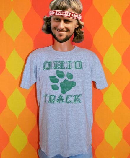 vintage OHIO university track champion rayon t-shirt bobcats