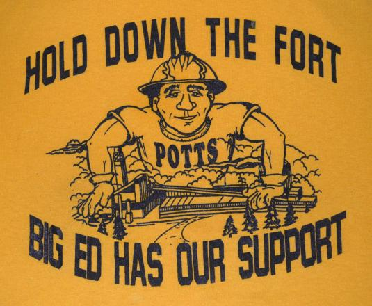 vintage BIG ED potts labor union paper history t-shirt 80s