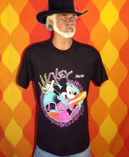 vintage MICKEY MOUSE neon disney t-shirt 80s black florida