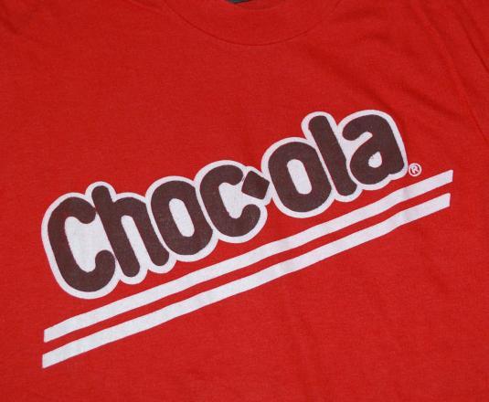 vintage CHOCOLA 70s soda pop cola coke t-shirt red candy