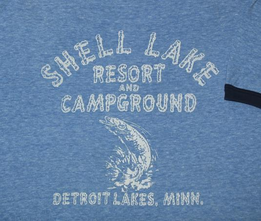 vintage shell lake DETROIT minnesota fishing ringer t-shirt