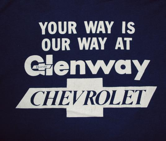 vintage glenway CHEVROLET chevy cars racing t-shirt 70s