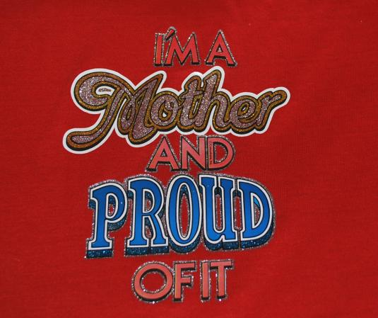 vintage MOTHER and proud glitter iron on t-shirt red 70s