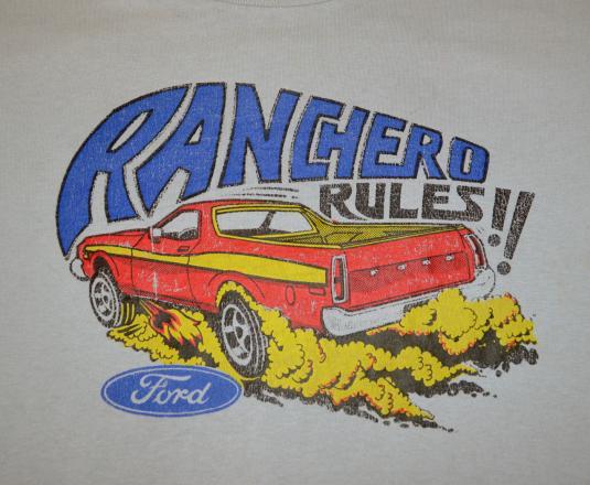 vintage 80s t-shirt RANCHERO rules ford car auto el camino