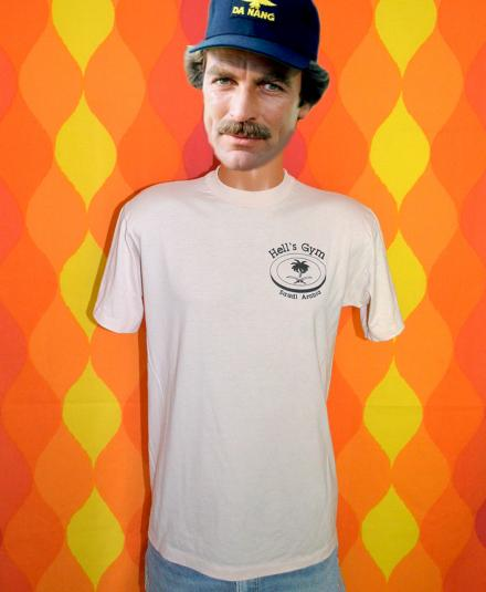 vintage HELL'S GYM saudi arabia middle east t-shirt 80s gulf