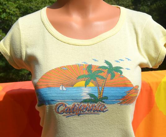 vintage 80s CALIFORNIA womens babydoll ribbed t-shirt sunset