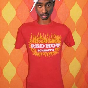 vintage RED HOT schnapps liquor party drink t-shirt