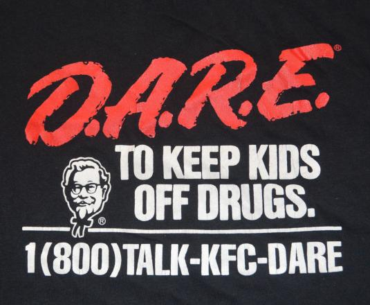 vintage DARE kids drugs KFC kentucky fried chicken t-shirt