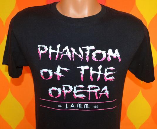 vintage PHANTOM of the opera black neon t-shirt 80s broadway