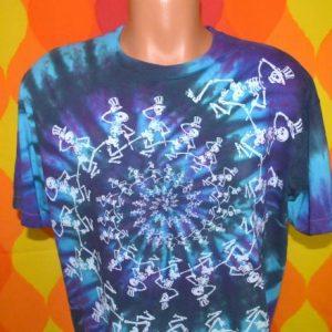 vintage 1990 GRATEFUL DEAD tie dye spiral skeletons t-shirt