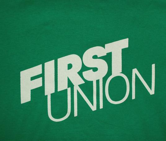 vintage FIRST UNION bank charlotte tennis t-shirt defunct