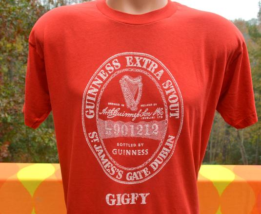 vintage GUINNESS beer dublin gigfy stout t-shirt red 80s