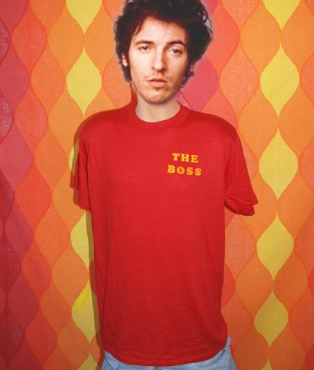 vintage THE BOSS red flock bruce springsteen t-shirt 70s