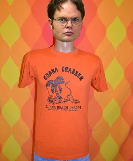 vintage BAHAMAS guana bay monkey t-shirt orange abaco