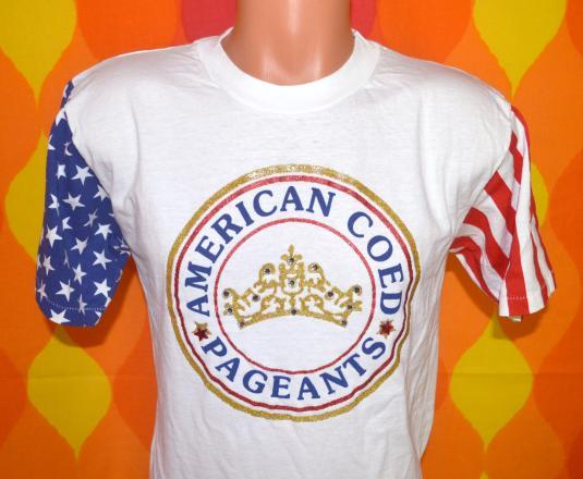 vintage coed beauty PAGEANTS rhinestone flag t-shirt 80s