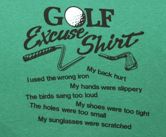 vintage GOLF excuses funny joke humor green t-shirt 70s