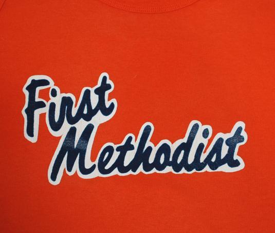 vintage FIRST METHODIST #7 baseball softball church t-shirt