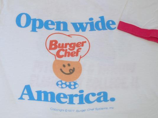 vintage BURGER CHEF ringer 1977 t-shirt open wide fast food