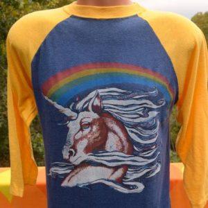 vintage UNICORN rainbow baseball raglan ringer t-shirt 80s