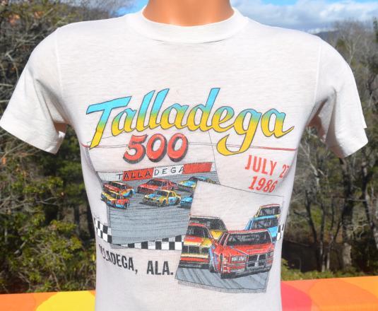 vintage 80s TALLADEGA 500 car racing t-shirt distressed