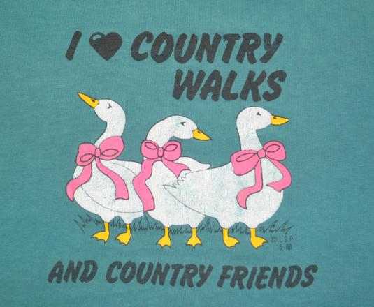 vintage i love COUNTRY walks friends geese ducks t-shirt